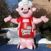 Wilbur Famous Daves Inflatable Pig Character