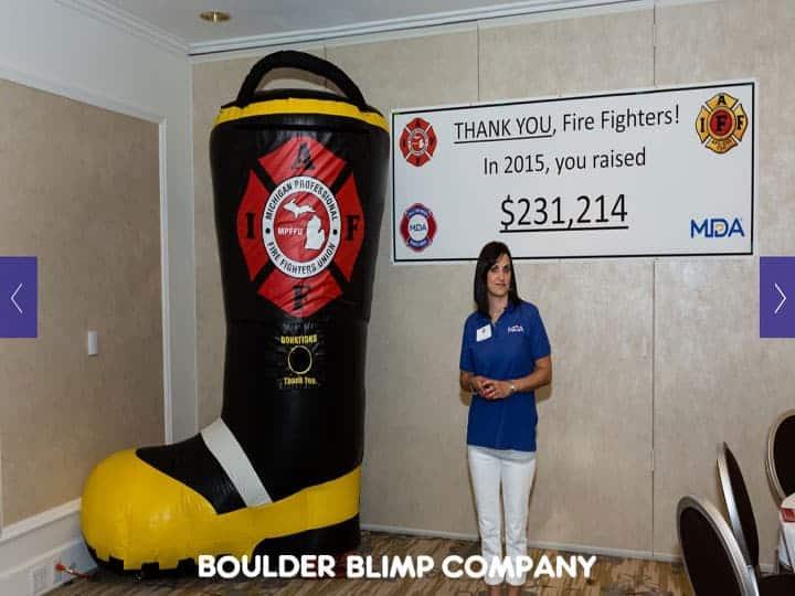 Michigan Professional Fire Fighters Union Inflatable Boot NonprofitsBoulder Blimp