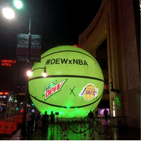 Mountain Dew Lakers NBA Inflatable Basketball w: Lights Boulder Blimp Sports Inflatable
