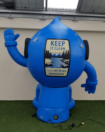 Roaring Fork Conservancy Nonprofits Inflatable H20 Joe Character Costume Back - Boulder Blimp